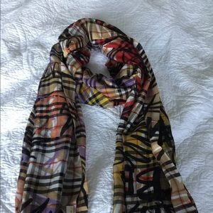 Authentic Burberry Vintage Check Graffiti Scarf